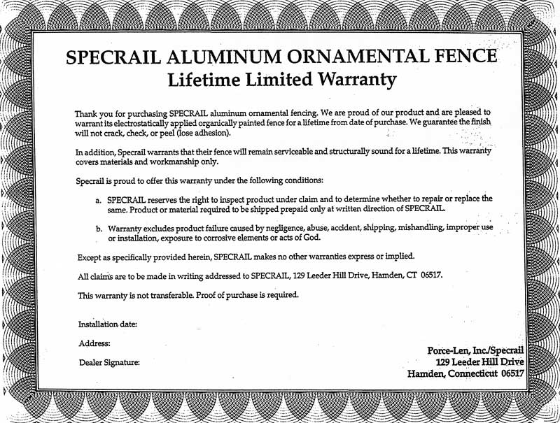 Warranty card for Specrail aluminum fence